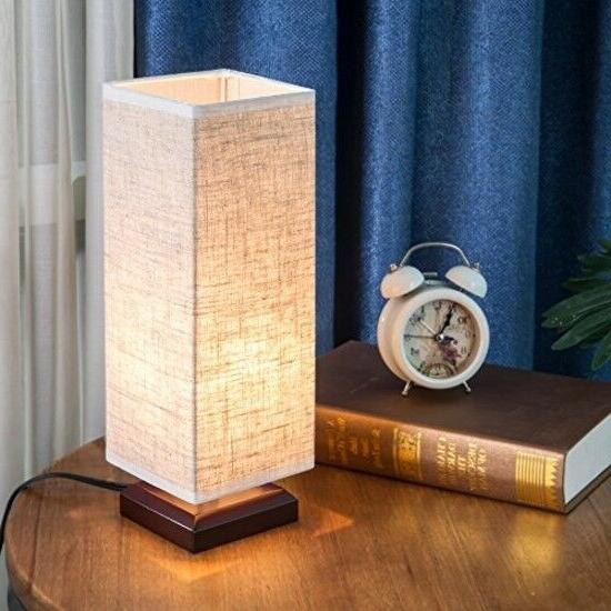 ZEEFO Table Lamp, Retro Style Wood Table Lamps Shade