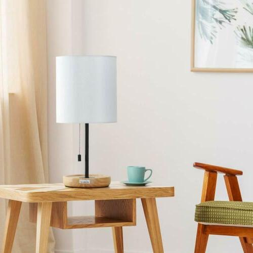 HAITRAL Bedside Table Lamp Wooden Base Pull Chain Switch Des