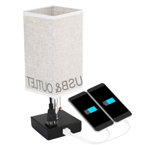 Bedside Table Lamps with USB Charging Ports and Outlets Powe