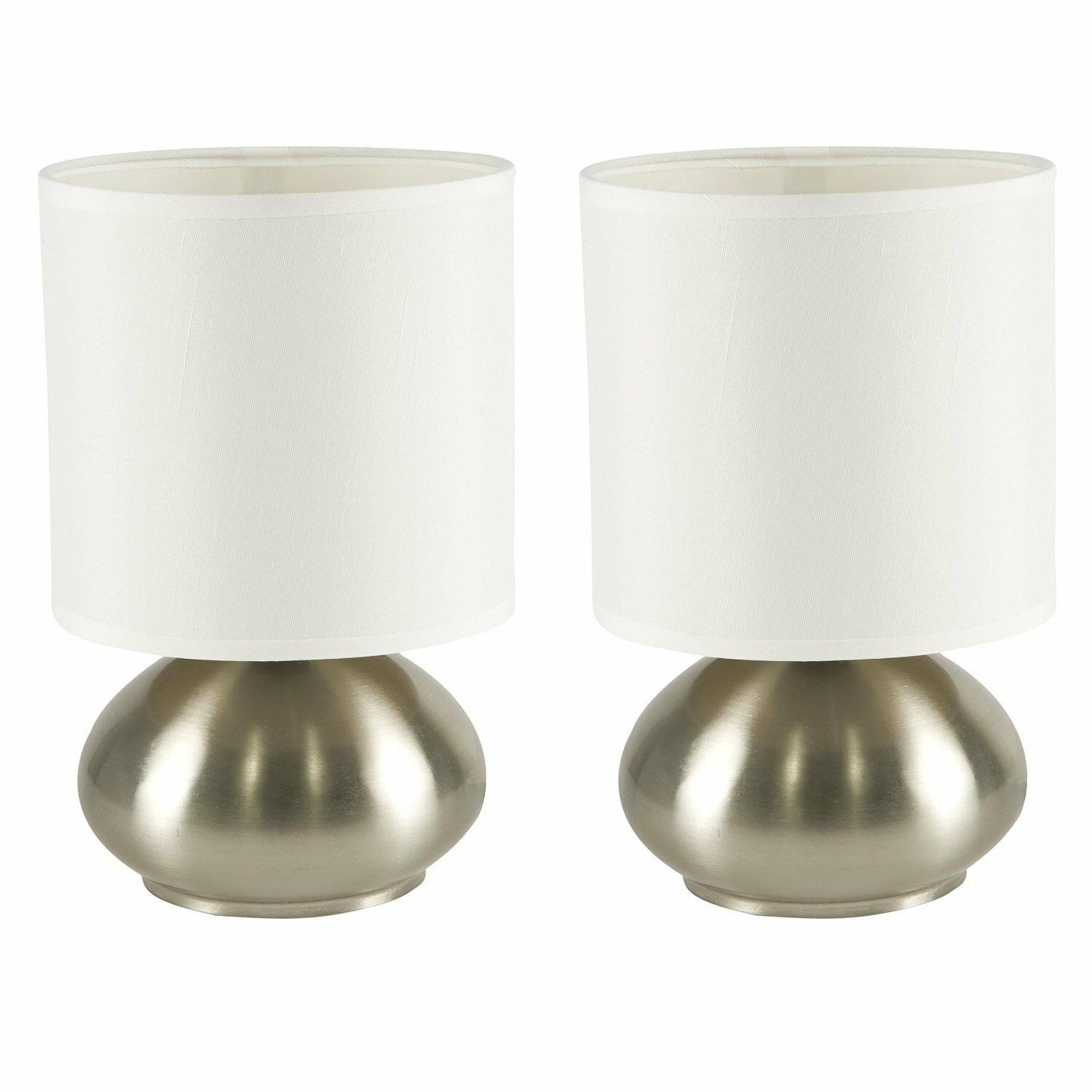 bedside touch lamps white table