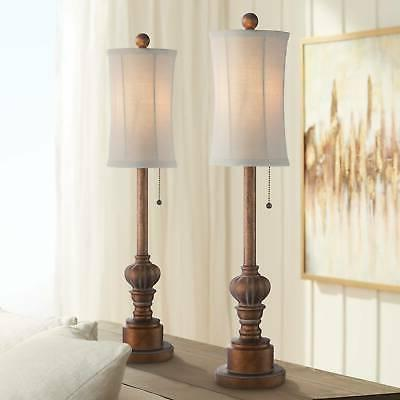 "Bertie 28"" High Tall Buffet Table Lamps Set"