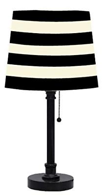 Urban Shop Black and White Striped Table Lamp with CFL Bulb