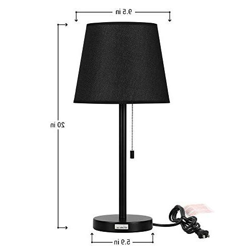 HAITRAL Lamps 2 Stand with Fabric Shade, Chain Switch and Base, Accent for Bedroom, Living Ideal