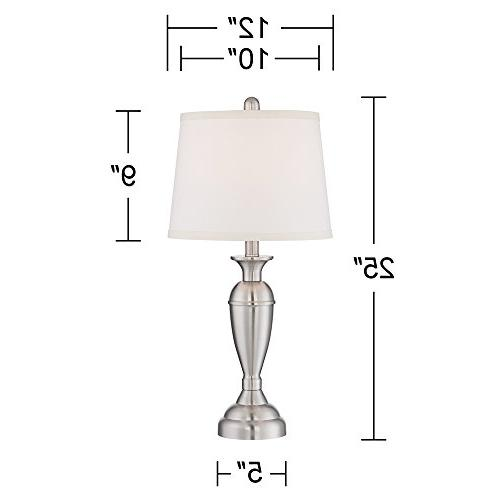 Blair Brushed Steel Table Lamp Set 2