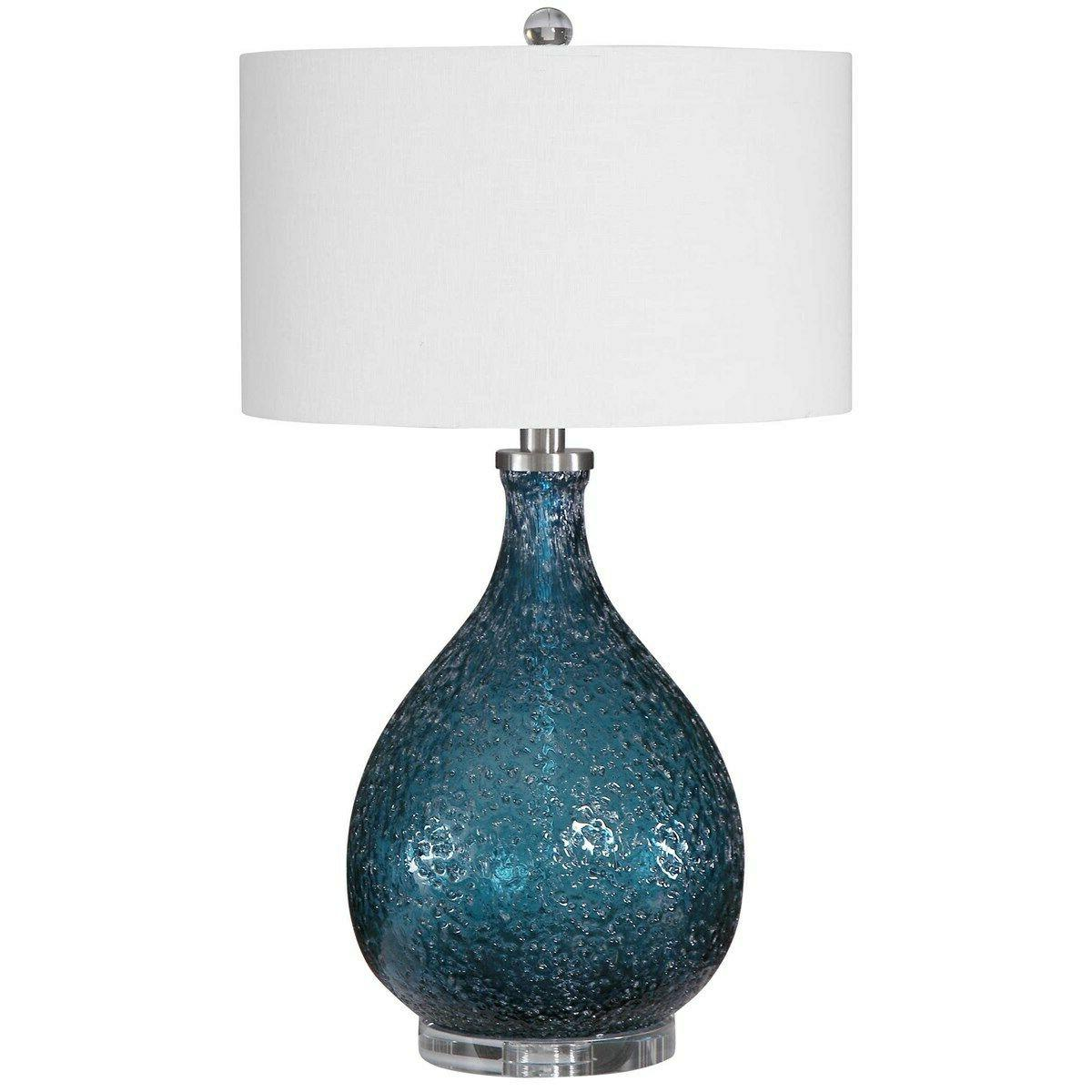 blue heavily textured seeded glass table lamp