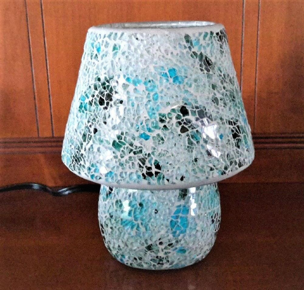 blue mosaic glass table lamp 25w one