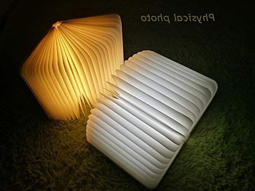Book Folding Lamp, USB Rechargable Book Light Table Lamp for Magnetic Design- Environmentally