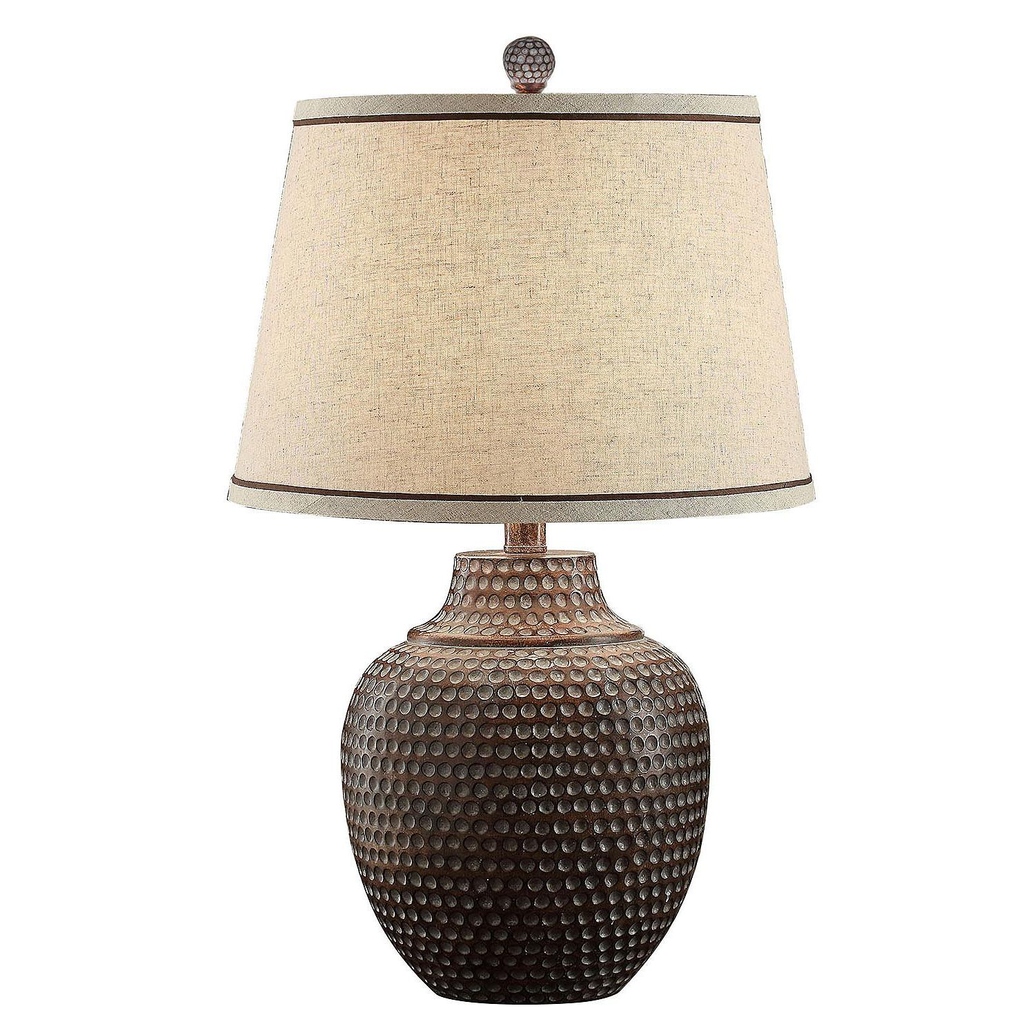 Carlin Collection Hammered Table Lamp in Rustic Bronze Brown