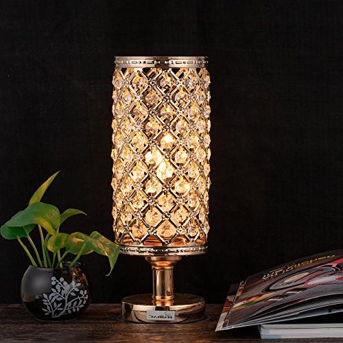 HAITRAL Bedside Nightstand with Beads Lampshade Metal Stylish Bedroom, Room, Coffee, Dresser Table, Gifts