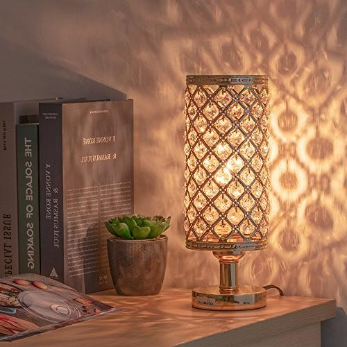 HAITRAL Crystal Lamps Nightstand with Beads Lampshade Stylish Lamps for Bedroom, Coffee, Dresser Table, Gifts