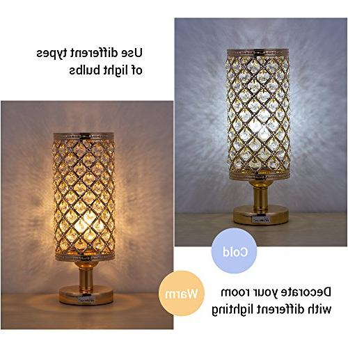 HAITRAL Bedside Lamps - Modern Gold Nightstand Lamp Beads Lampshade Metal Stylish Bedside Lamps for Bedroom, Living Room, Dresser Table, Ideal