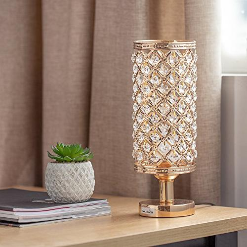 HAITRAL Crystal Lamps - Nightstand Desk Lamp Beads Stylish Bedside Lamps for Bedroom, Living Dresser Ideal