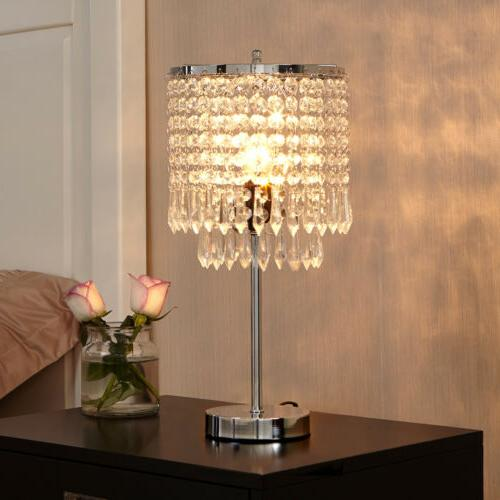 Elegant Bedside Decorative Table Lamp Bedroom Chrome Nightst