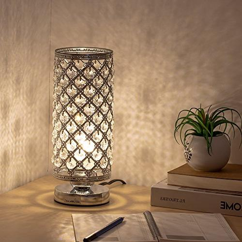 HAITRAL Modern Lamp with Pcs Crystals Desk Lamp Living Room, Sliver