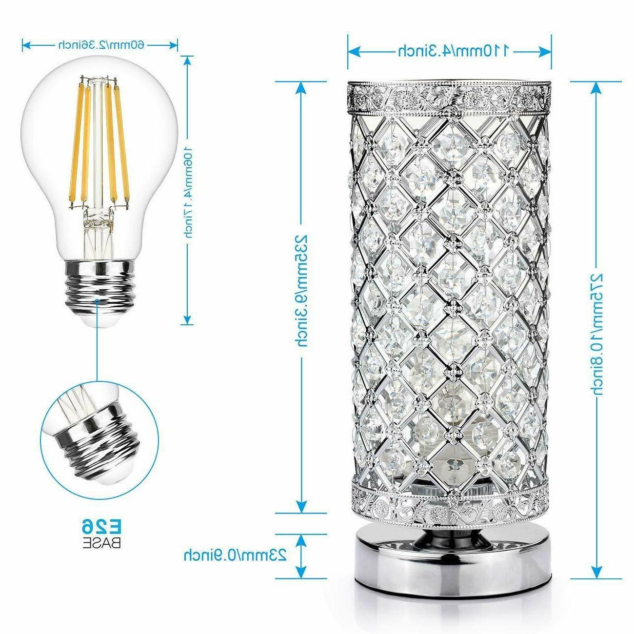 Crystal Table Lamp Touch Control Dimmable Lamp Bedside Modern