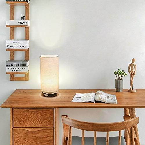 HAITRAL Bedside - Modern Minimalist Lamp with Fabric Nightstand Light Living College Dorm, Kids