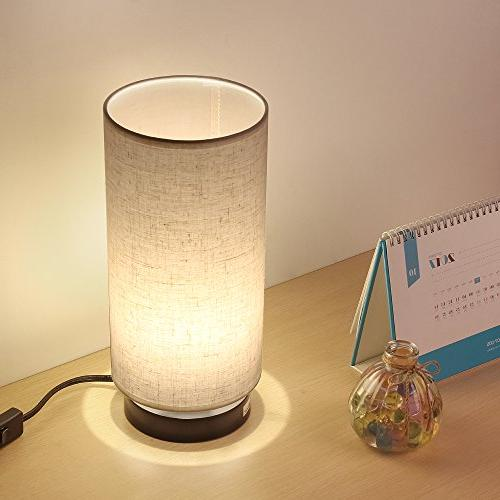 HAITRAL Bedside Desk Lamp Nightstand Light for Bedroom, Living Room Office, Dorm, Kids Room,