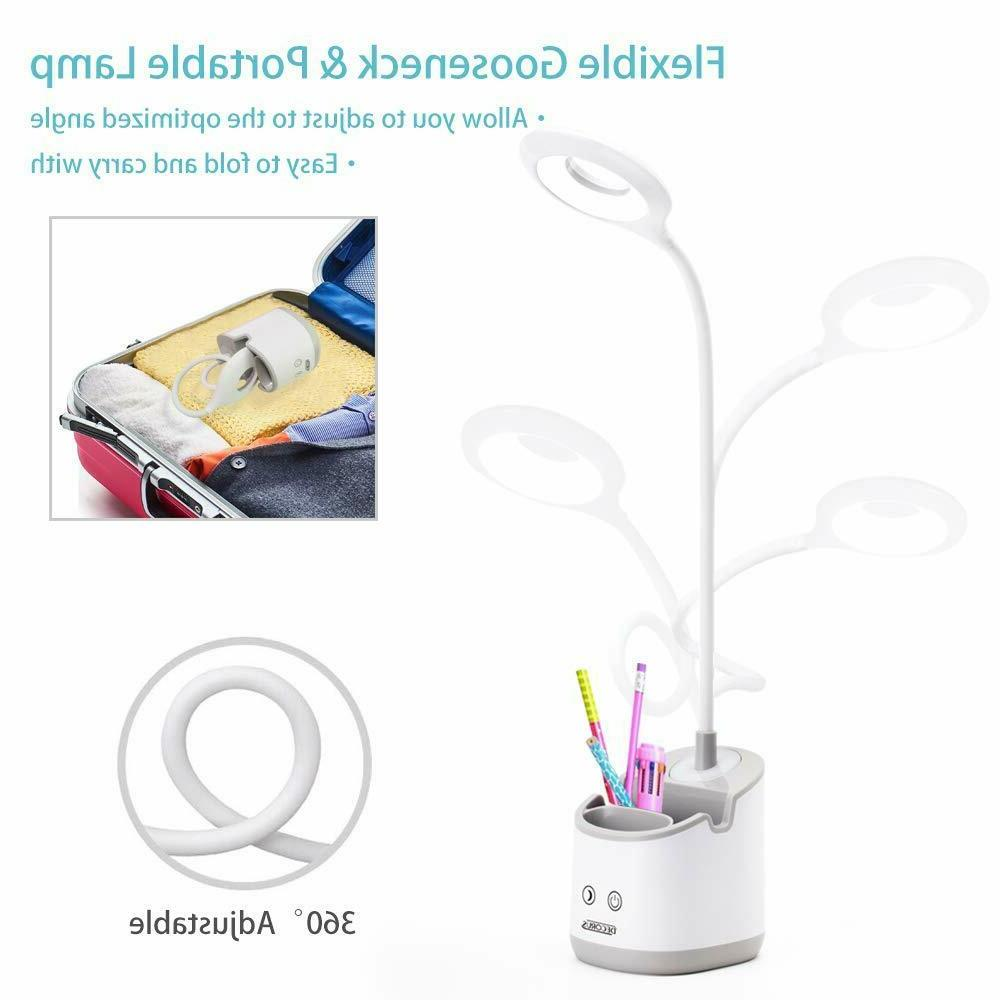 Desk Lamp Kids with Night Light LED USB Rechargeable Table L