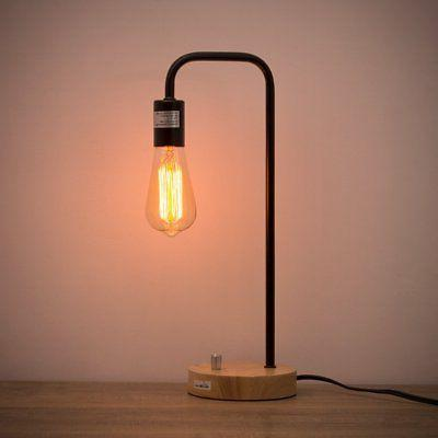desk lamp wooden industrial table