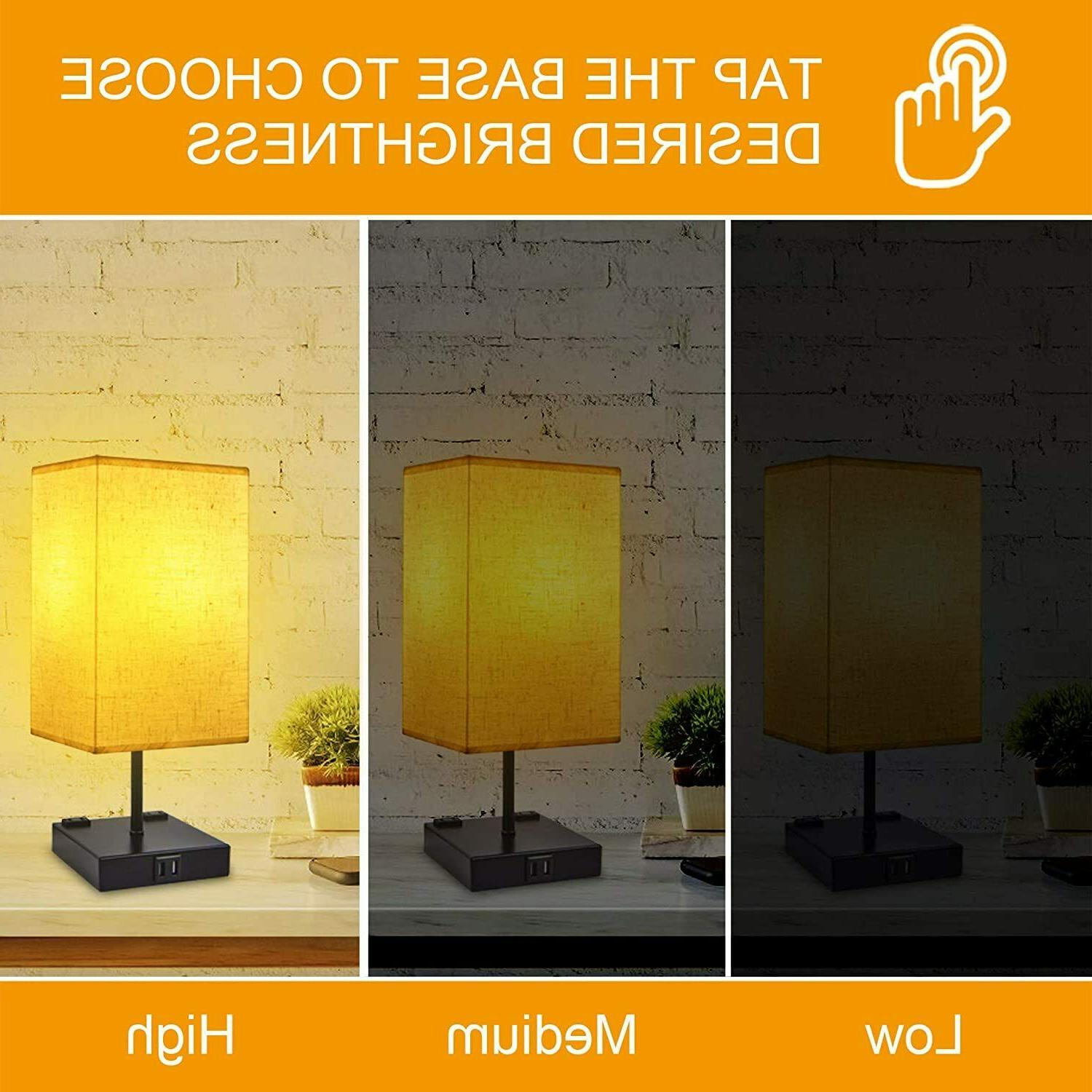 Dimmable 3-Way Touch Bedside Lamp, Lamp with USB Charging