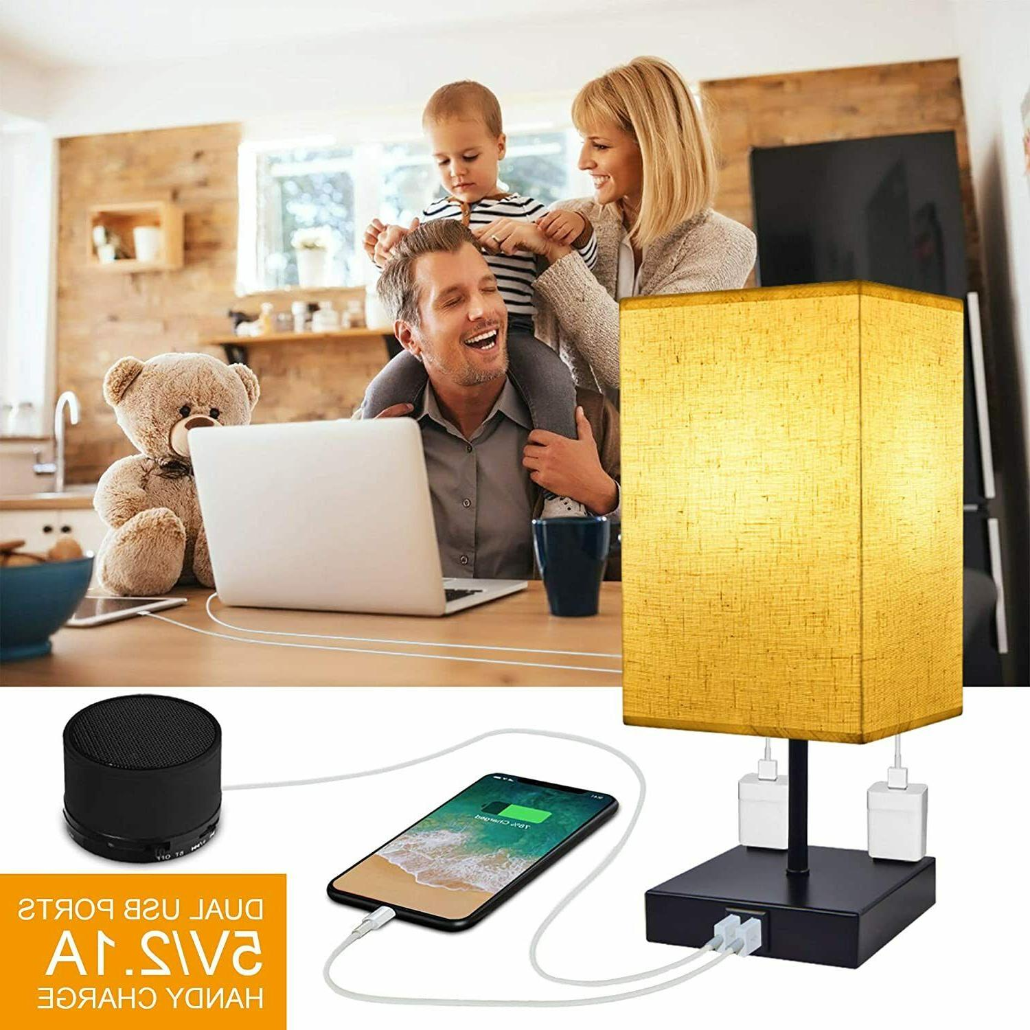 Dimmable 3-Way Control Bedside Lamp, Modern Table Lamp USB