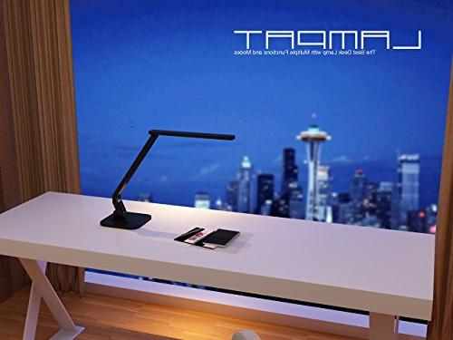 Lampat LED Dimmable LED Table Lamp Black, 4 5-Level Touch-Sensitive Panel, 5V/2A
