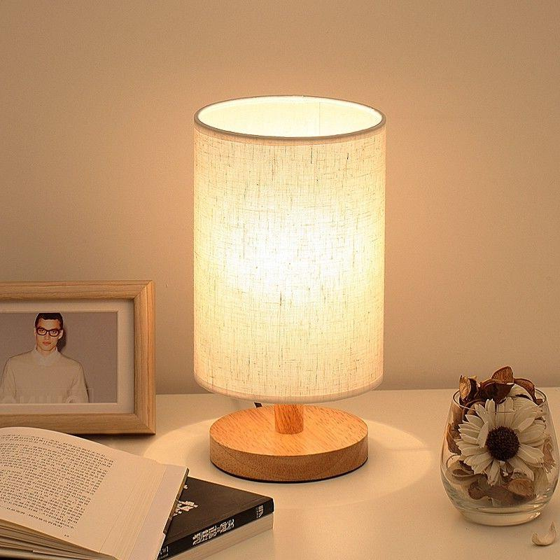 dimmable wood bedside table lamp