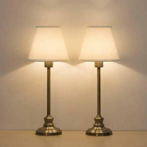 Modern Gold Desk Lamp with Fabric Shade Metal Base Lamps for