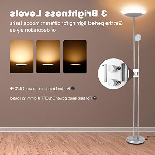 Finether 18W LED Lamps Table Lamp Dimmable 3W 360-degree Reading Light,