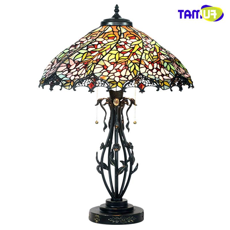 FUMAT <font><b>Lamp</b></font> Stained Glass Vintage led light lustre Desk <font><b>Lamp</b></font> <font><b>18</b></font> Romantic Wisteria Series