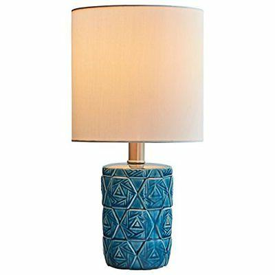 "Rivet Geometric Ceramic Table Lamp With LED Bulb, 15""H, Ocea"