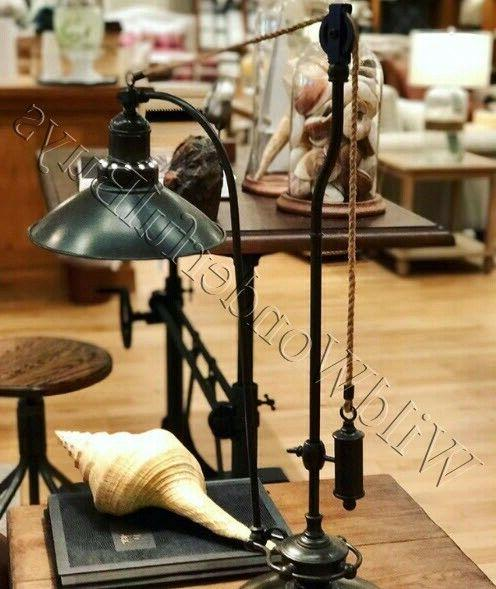 Pottery Barn Glendale Pulley Task Table Lamp Antique Bronze