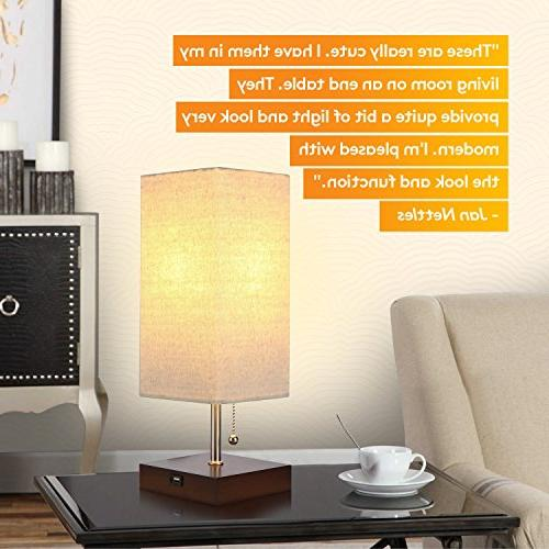 Brightech Bedside Table & Lamp - Modern with Ambient Unique Lampshade for Living Room, Office -