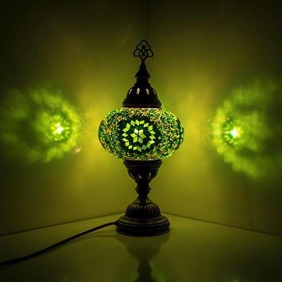 Green Turkish Mosaic Table Lamp Large Size Handmade Authenti
