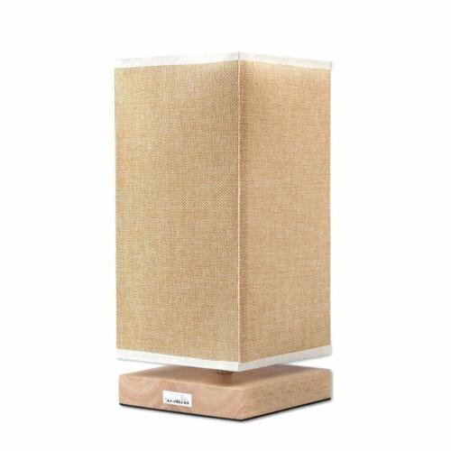 HAITRAL Bedside Table Lamp Fabric Shade Wood Desk Light for
