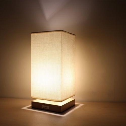 HAITRAL Bedside Table Lamp Simple Style Wooden Desk Light wi
