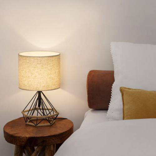 HAITRAL Bedside Table Minimalist Lamps Basket