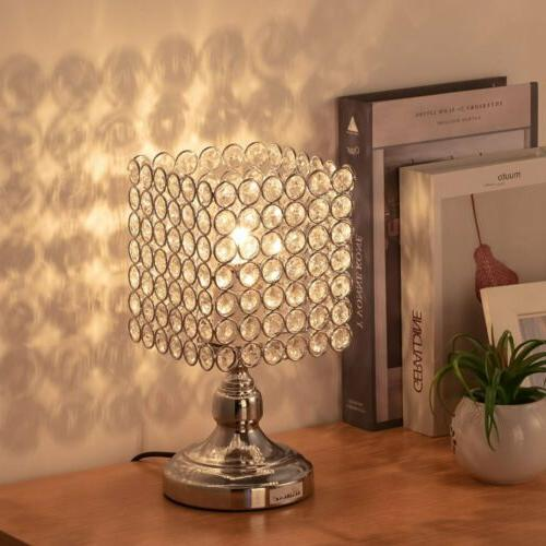HAITRAL Bedside Table Lamps-Square Crystal Night Lamp with L