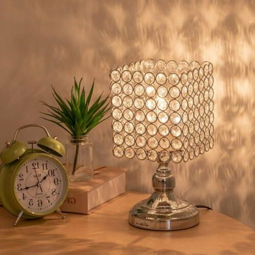 HAITRAL Bedside - Square Crystal Lamp with Lampshade