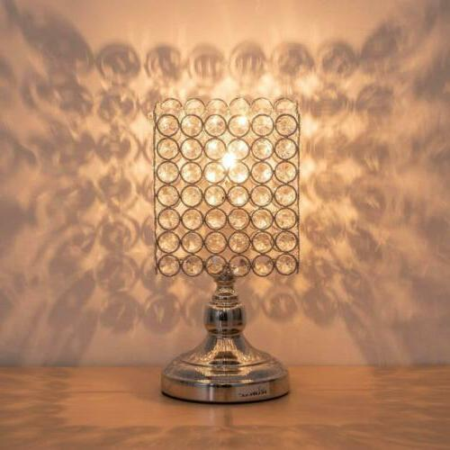 HAITRAL Table Lamps - Square Crystal Night Lamp