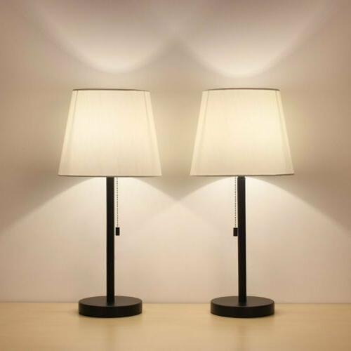 Table Lamp Set of 2 Modern Desk Metal Body Nightstand Lamps