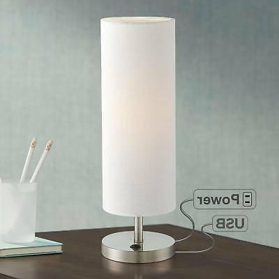 Heyburn Brushed Steel Accent Table Lamp with USB Port