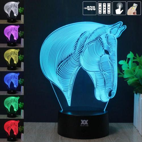 Horse Head 7 Color Night Light Home Decor 3D Acrylic LED Art