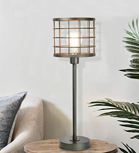 Grandview Cast Table Lamp ft. Cage and Visible Edison Modern