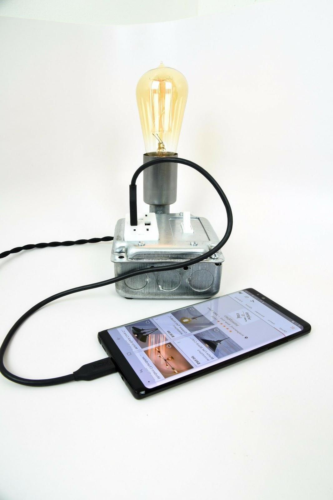 Industrial Table Lamp With USB Ports And Outlets Desk Chargi