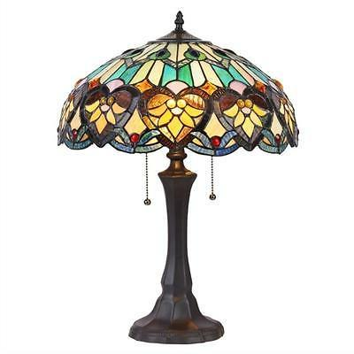 """KENDALL Tiffany-style 2 Light Victorian Table Lamp 16"""" Shade"""