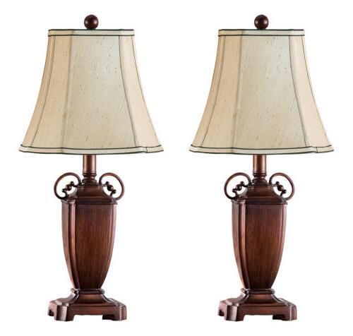 Kings Brand Antique Brushed Red With Light Brown Shade Table