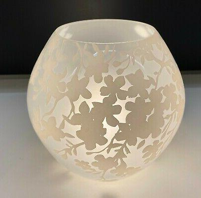 knubbig round glass table lamp cherry blossoms