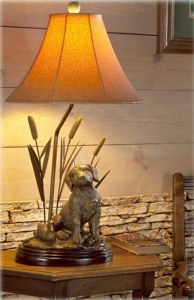 Labrador Dog Decoy Duck & Cattail Table Lamp Hunting Lab Ret