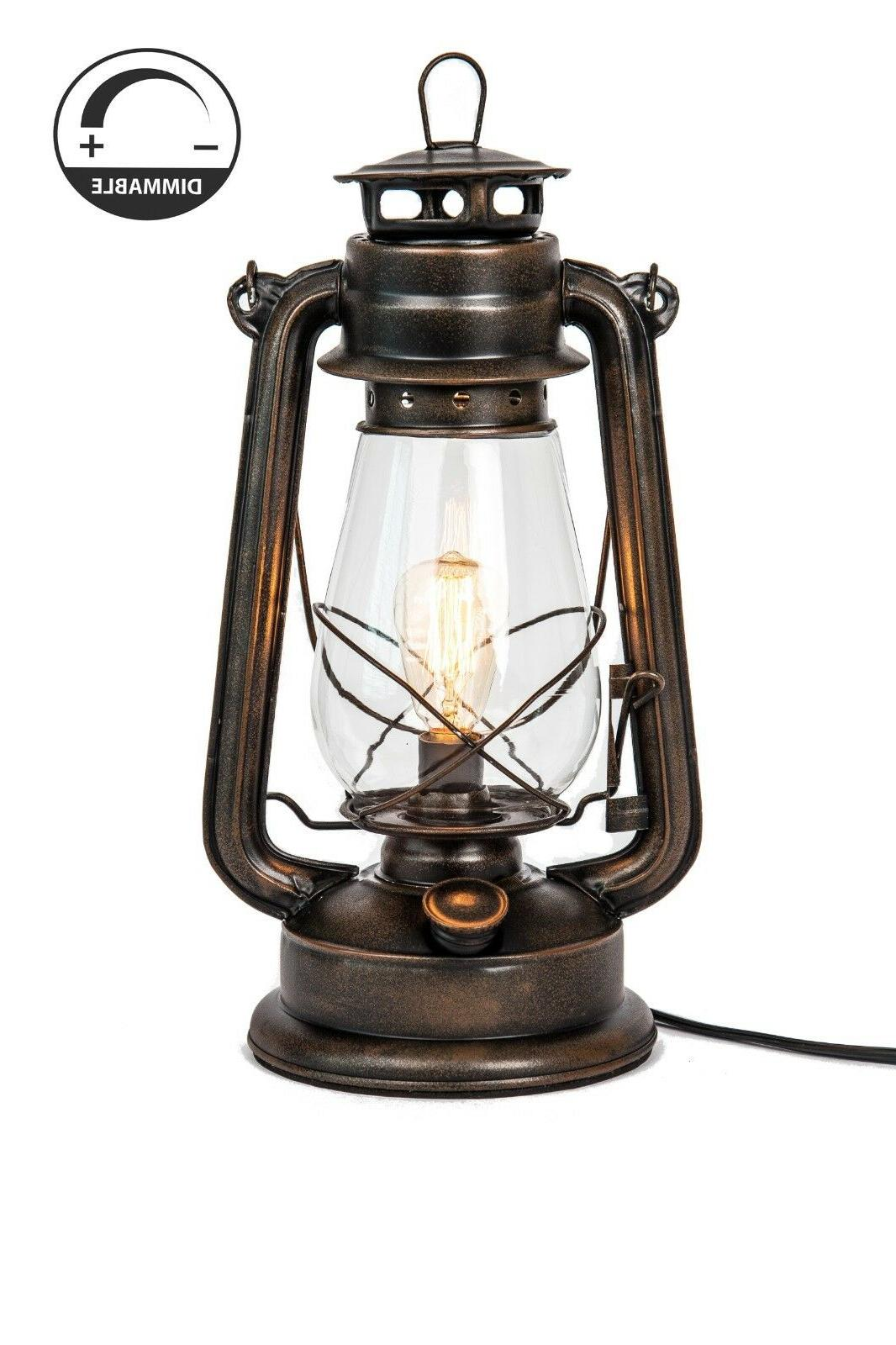 lantern table lamp with dimmable edison bulb